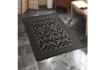 Indoor Outdoor Lace Pattern Rug Black 270x180cm