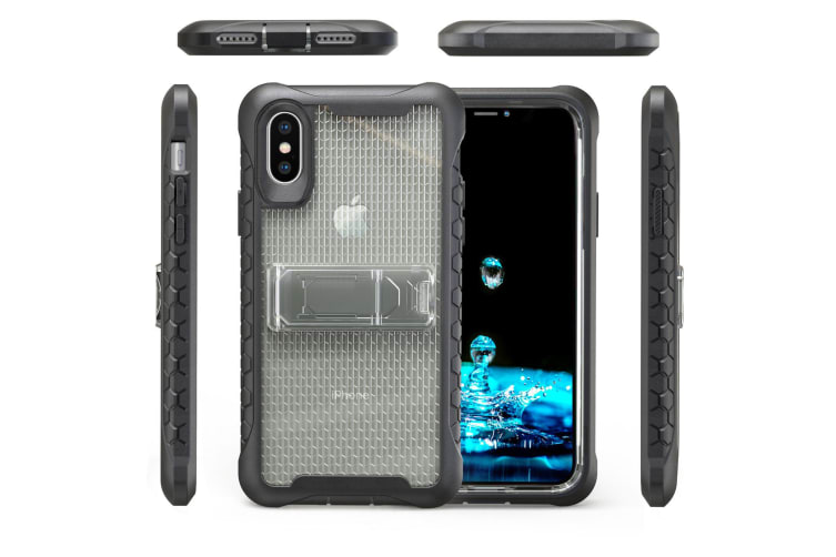 Grey Honeycomb For iPhone XS X Case Armour Phone Cover KickStand