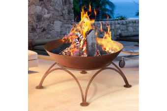 Rustic Copper Fire Pit Portable Charcoal Iron Bowl Outdoor Wood