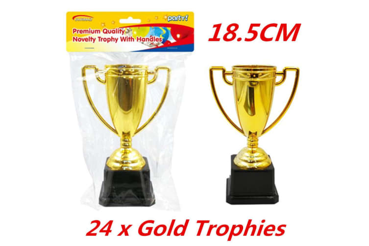 24 x Award Gold Trophy Trophies with Handles Inspired Ceremonies Party Favor VIP 18cm