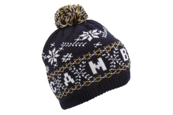 Unisex Fairisle Pattern Cambridge Winter Bobble Hat (Navy) (One Size)