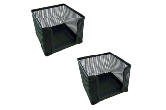 2PK Esselte Home/Work Mesh Memo/Notes Cube Holder Stationery Desk Organiser BK