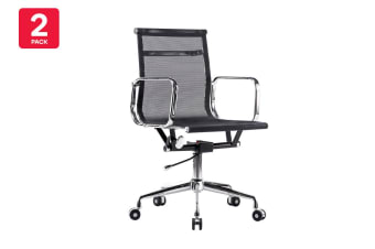 2 Pack Ergolux Executive Eames Replica Low Back Mesh Office Chair (Black)