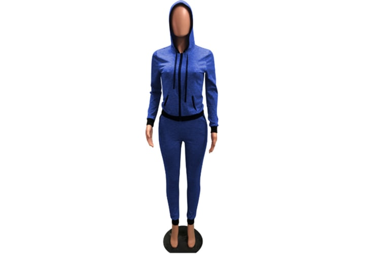 2 Piece Set Women Casual Pants Sets Sportswear Patchwork Long Sleeve Hooded Outfit Suit Blue 2Xl