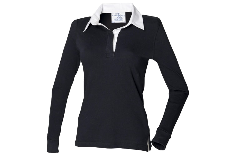 Front Row Womens/Ladies Long Sleeve Plain Sports Rugby Polo Shirt (Black/White) (3XL)