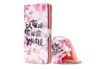 "For Samsung Galaxy Note 8 Wallet Case ""Be True to Who You Are"" Leather Cover"