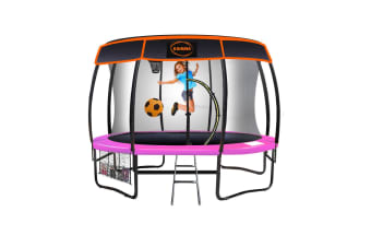 Kahuna Trampoline 8 ft with Basketball set and Roof - Pink