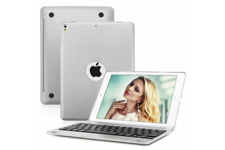 """For iPad 9.7"""" 2018 6th Gen Bluetooth Aluminum Keyboard Smart Case Stand Cover AU-Silver"""