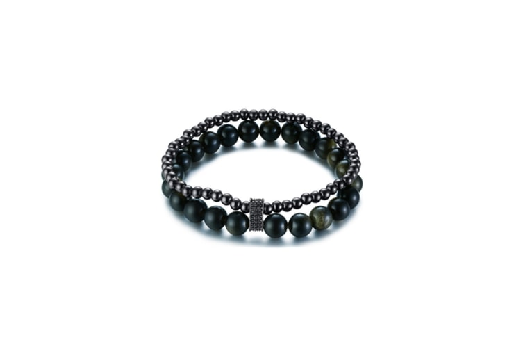 Handmade Beaded Double Wrap Bracelet - 1 Black