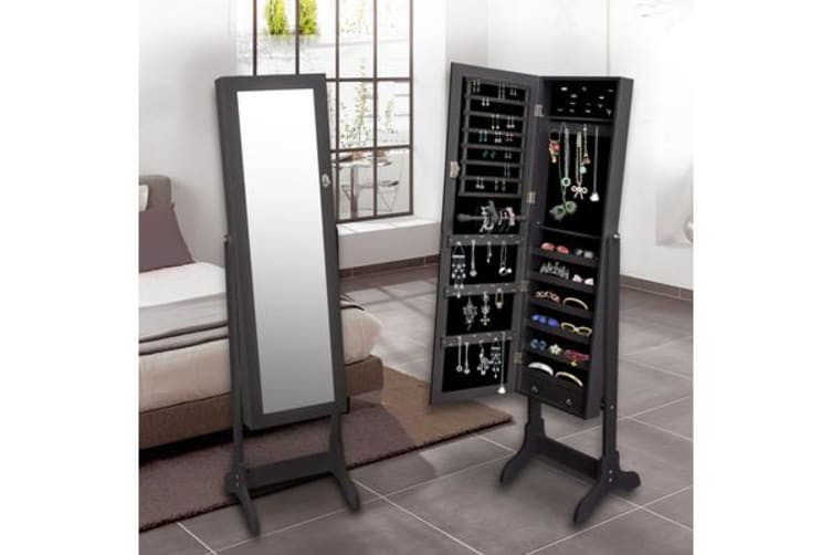 Mirror Jewellery Standing Cabinet BLACK