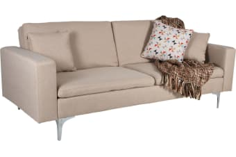 3 Seater Sofa Bed with Pillows Adjustable Couch Lounge Linen Beige