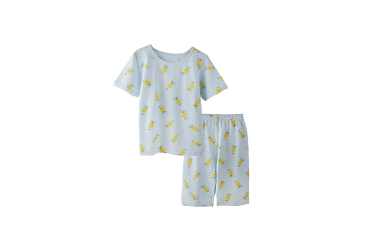 2Pcs Boys Girls Soft Cotton Short Sleeved Home Suit - 4 Blue 90Cm