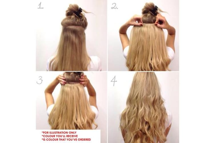 Thick Black High Grade Synthetic Wavy Curly Hair Clip-In Hair Extension 5 Clips