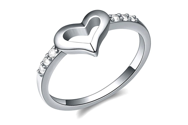Sheer Love Ring-White Gold/Clear Size US 8