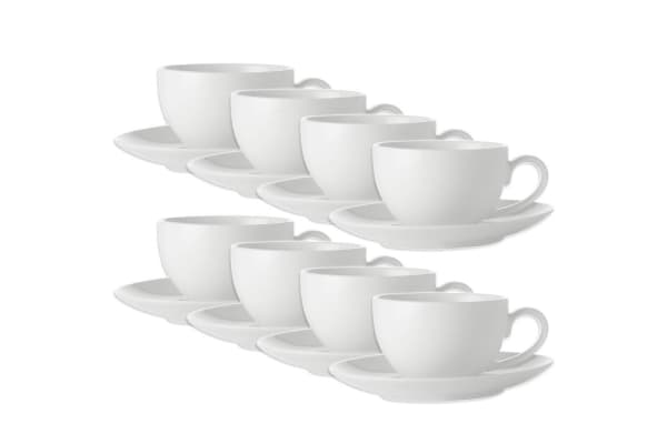 16pc Maxwell Williams White Basics Coffee Cup & Saucer Set 100ml Porcelain Tea