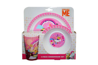 Despicable Me Childrens/Kids So Sweet Unicorn 3 Piece Dinner Set (Pink/White)