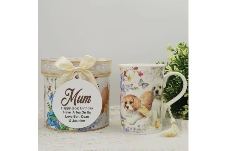 Mum Mug with Personalised Gift Box Puppy Dog