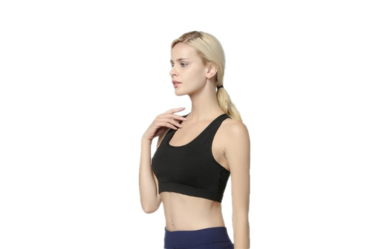 Women'S Support Strappy Back Wirefree Removable Cups Yoga Sports Bra Black L