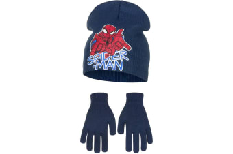 Marvel Ultimate Spider-Man Childrens Boys Web Slinging Hat And Gloves Set (Navy)