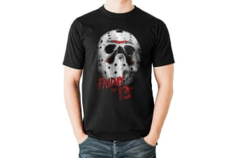 Friday The 13th Adults Unisex Mask Design T-Shirt (Black)