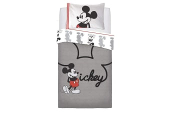 Mickey Mouse Jersey Panel Duvet Set (Grey/Red)