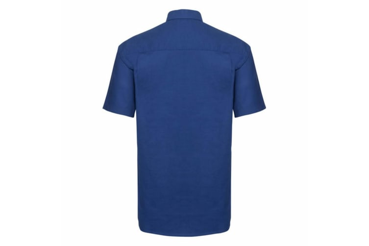 Russell Collection Mens Short Sleeve Easy Care Oxford Shirt (Bright Royal) (21inch)