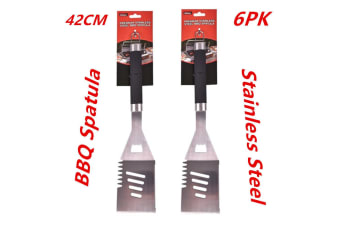 6 x Premium BBQ Barbeque Spatula Scraper Stainless Steel Burger Turner Flipper