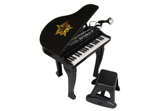 Kids Electric Grand Piano Set with Microphone - Black