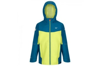 Regatta Childrens/Kids Hipoint Stretch IV Lightweight Hooded Waterproof Jacket (Sea Blue/Lime Punch) (3-4 Years)