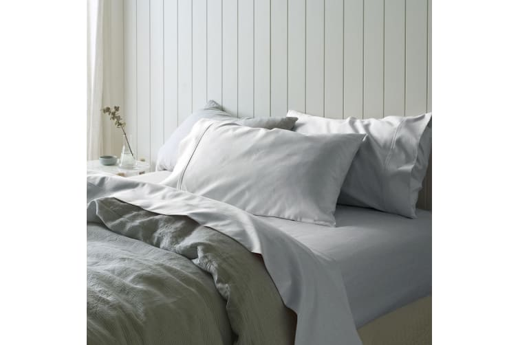 1000TC Cotton Sateen Sheet Set Silver Queen