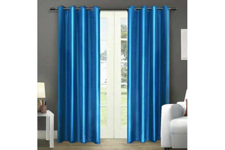 2X Blockout Curtains Panels Blackout 3 Layers Eyelet Room Darkening Pure Fabric  -  Peacock Blue140x230cm