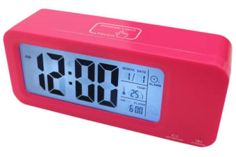 Portable Smart Lcd Alarm Clock Rechargeable Lithium Battery Date Temp Pink
