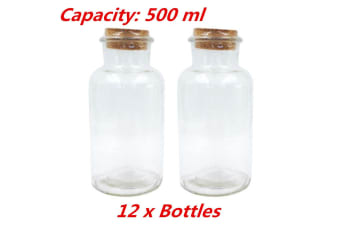 12 x Decorative Clear 500ml Glass Multi-purpose Storage Bottle Jar with Natural Cork Lid Candy