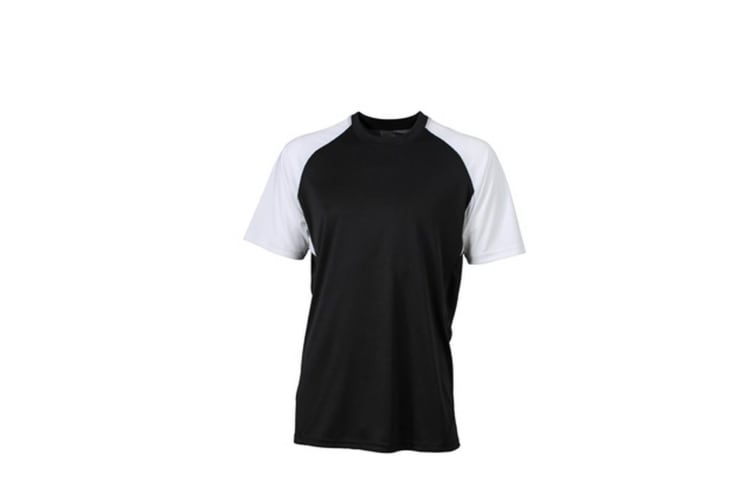 James and Nicholson Unisex Competition Team Shirt (Black/White) (XL)