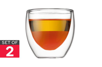 Set of 2 Bodum Pavina Double Wall Glasses - 80ml/Extra Small (4557-10)