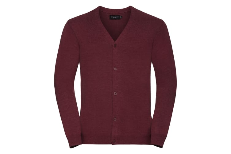 Russell Collection Mens V-neck Knitted Cardigan (Cranberry Marl) (2XS)