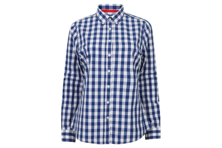 Front Row Womens/Ladies Long Sleeve Checked Cotton Shirt (Blue/White) (XS)