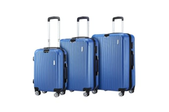 3 Pcs Luggage Set Suitcase Lightweight Trolley Carry On Travel Storage TSA Hard Case - Blue