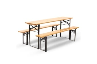 Artiss Wooden Outdoor Foldable Bench Set Natural