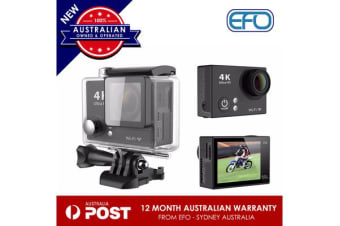 H2R Waterproof Camera 4K Fhd 170? Lens Wifi 2.0'' 12Mp Sports Action Remote Blk