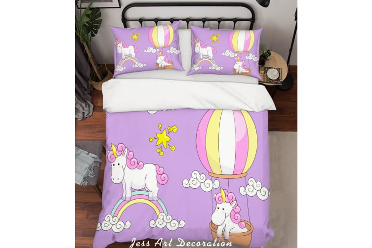 3D Purple Unicorn Rainbow Star Hot Air Balloon Quilt Cover Set Bedding Set Pillowcases 45-Single