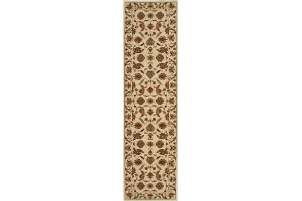 Stunning Formal Floral Design Rug Cream 300x80cm