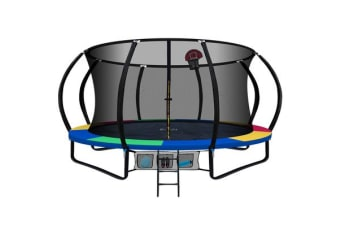 Everfit 16FT Round Trampoline Basketball Set Safety Net Spring Ladder Colourful