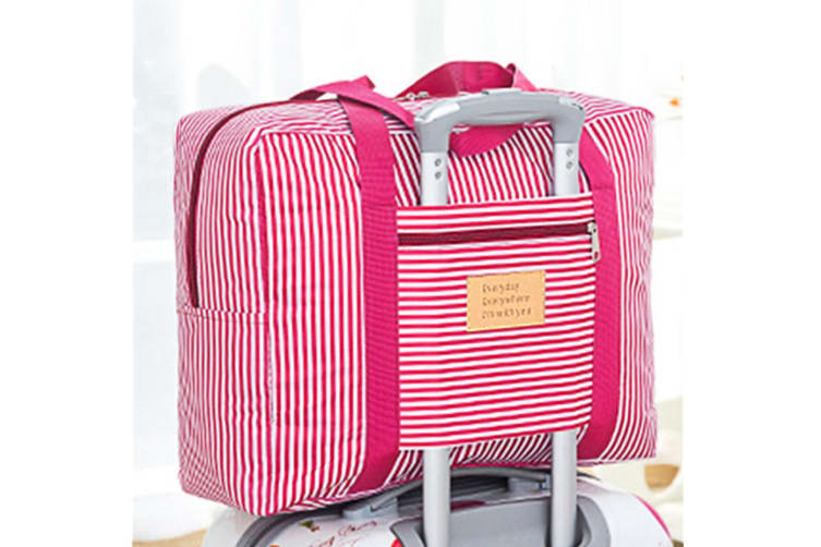 Waterproof Foldable Traveling Bag With Large Capacity Finishing Bag - Red Stripes Red L