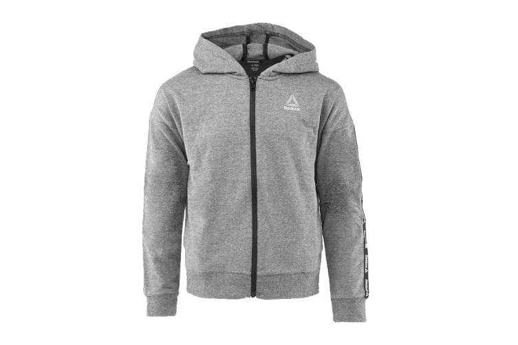 Reebok Girls' Active Full Zip Hoodie (Heather Grey, Size L)