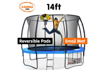 Kahuna Trampoline Pro 14ft - Reversible pad, Emoji Mat, Basketball Set