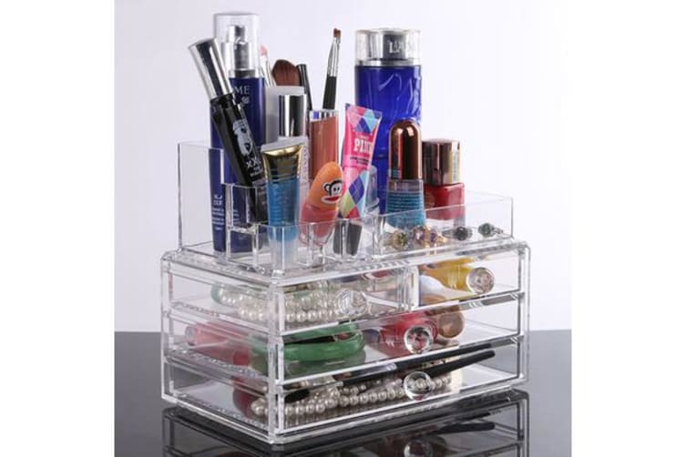 Acrylic Makeup Organizer Container Clear 3 Draws Cosmetic Holder