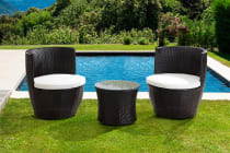 Shangri-La 3 Piece Wicker Vase Chair & Table Set (Dark Brown)