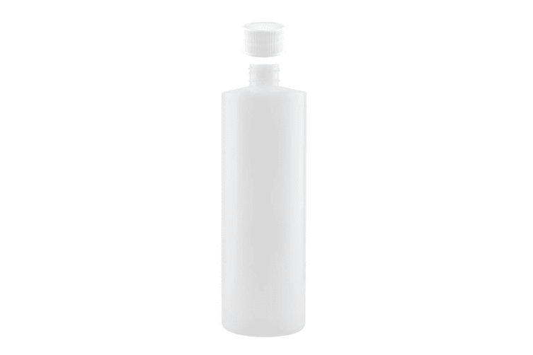 1L HDPE Clear Round Bottle Empty Plastic 28/410 White Screw Cap Food Storage