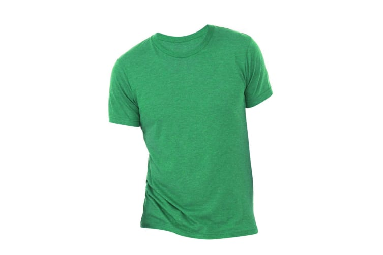 Canvas Mens Triblend Crew Neck Plain Short Sleeve T-Shirt (Green Triblend) (2XL)
